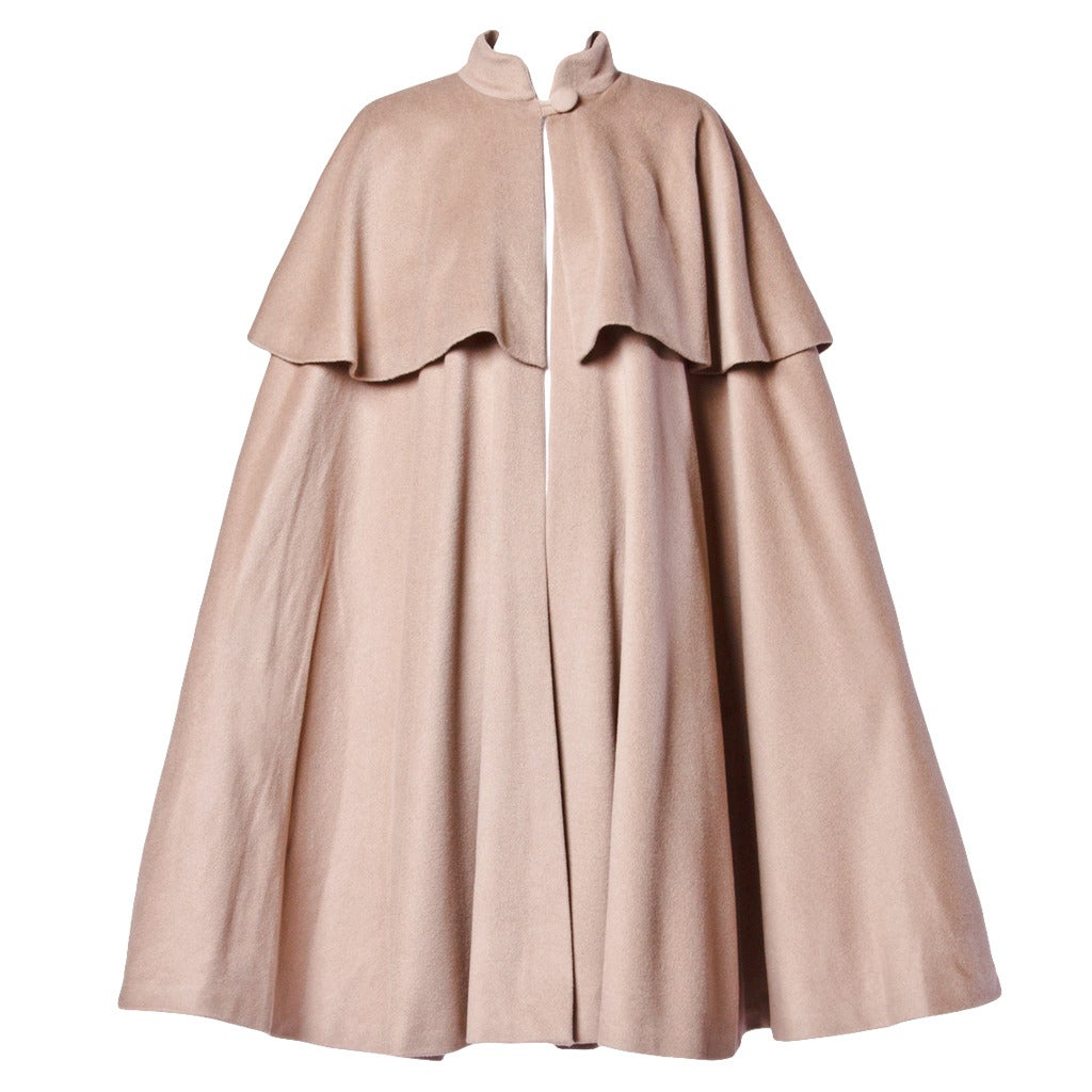 Moschino Couture! Vintage 1990s 90s Beige Wool Cape Coat 1