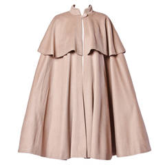 Moschino Couture! Vintage 1990s 90s Beige Wool Cape Coat