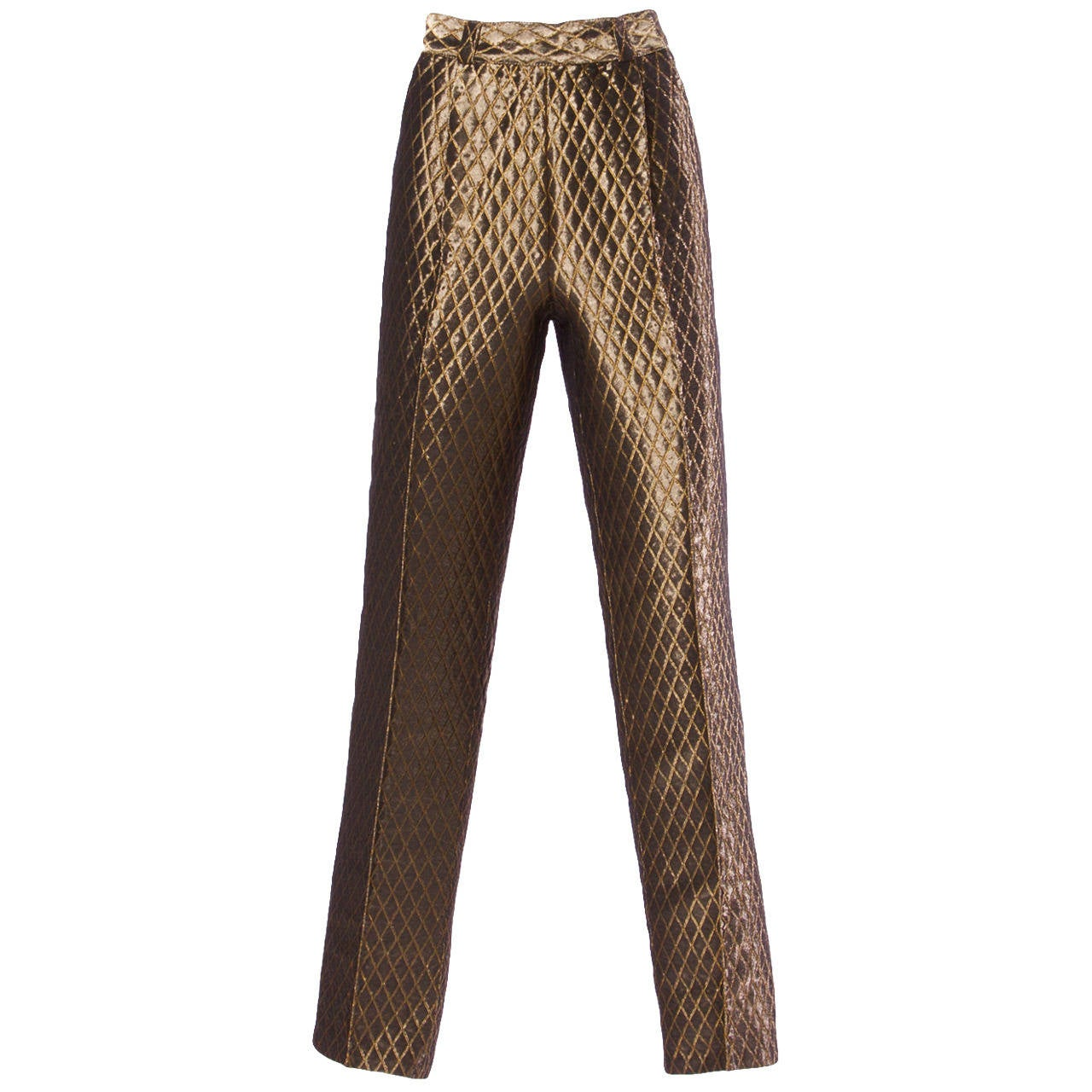 d7cee864ac5aa Gianni Versace Couture Vintage Metallic Gold Quilted High Waisted Pants For  Sale