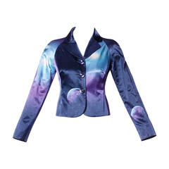 Moschino Vintage 1990s 90s Galaxy Print Jacket with Outer Space Moon Buttons