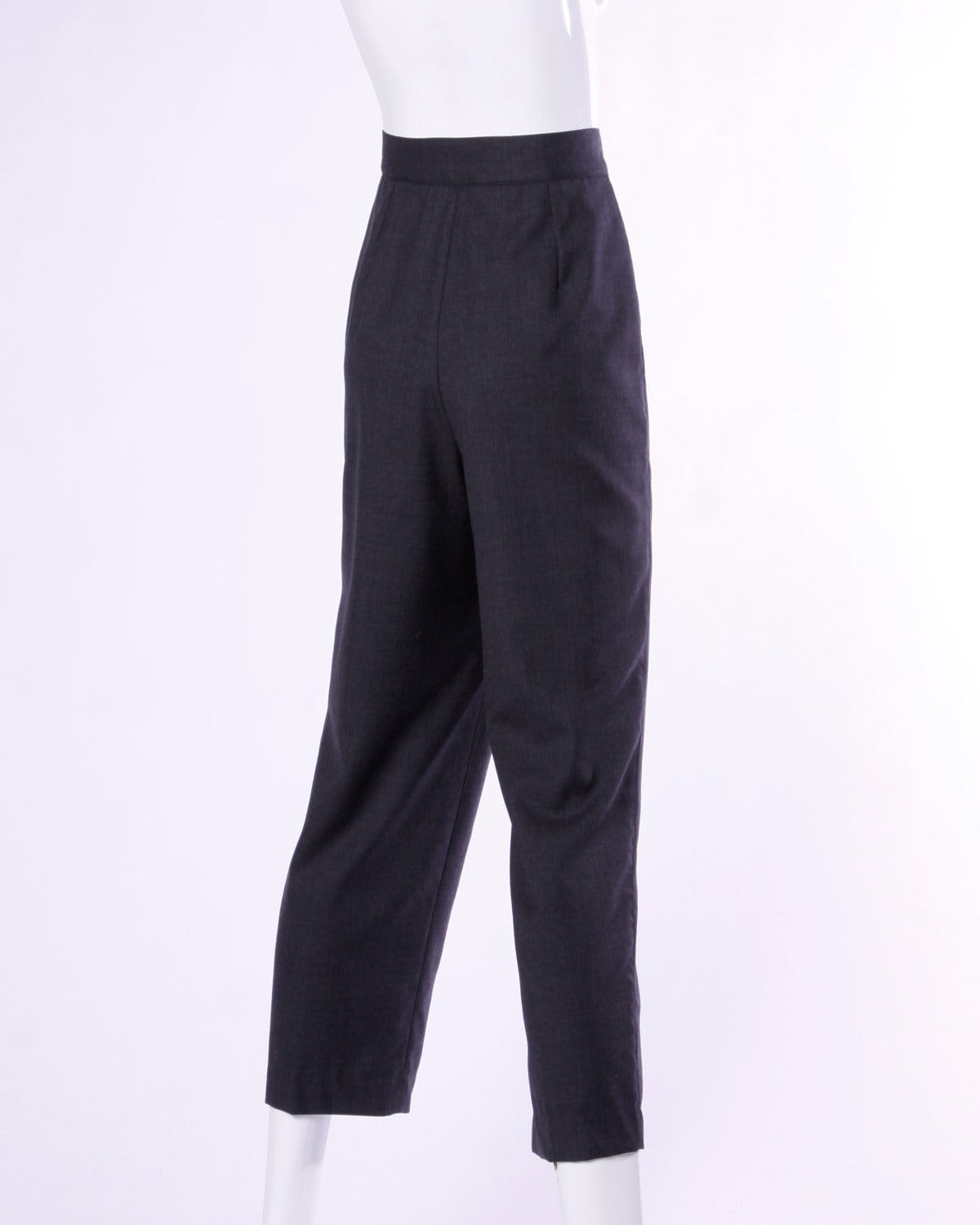 Gianni Versace Vintage 1980s 80s Gray Wool Pleated Pants or Trousers 2