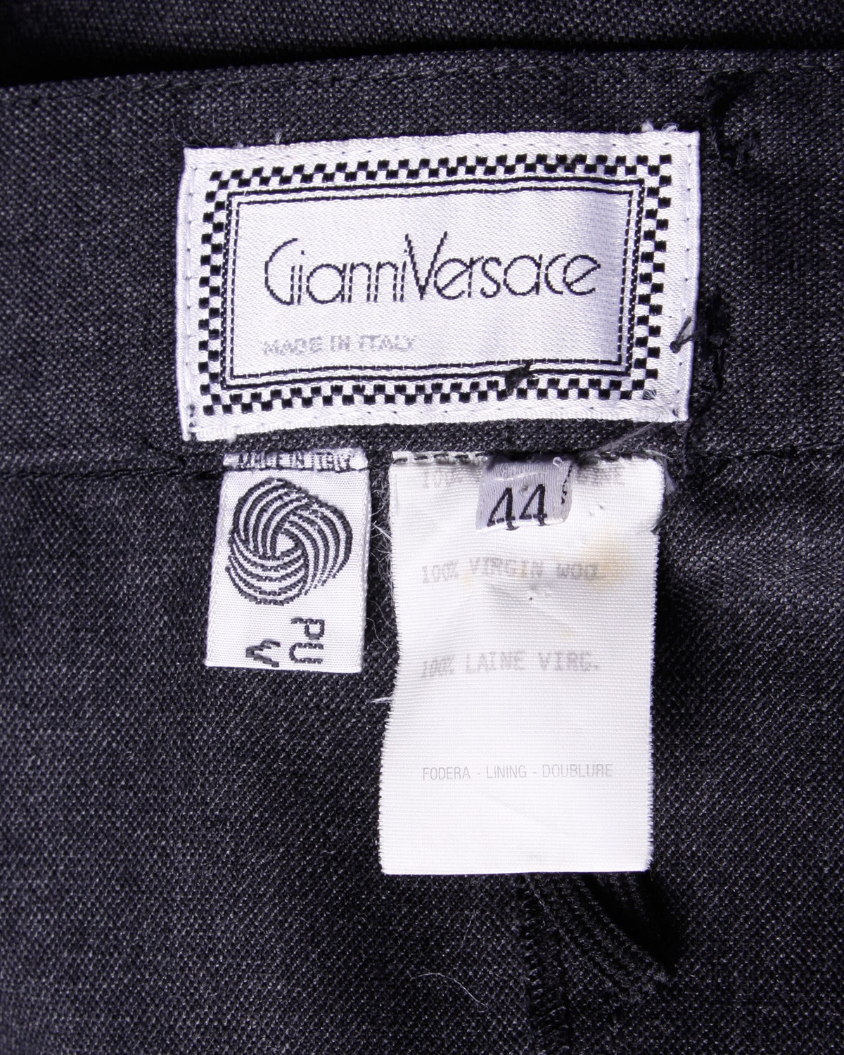 Gianni Versace Vintage 1980s 80s Gray Wool Pleated Pants or Trousers For Sale 1