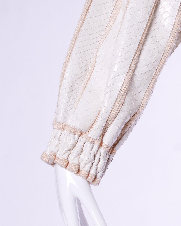 Amen Wardy Vintage 1980s 80s White Reptile Skin Wool + Silk Jacket For Sale 1