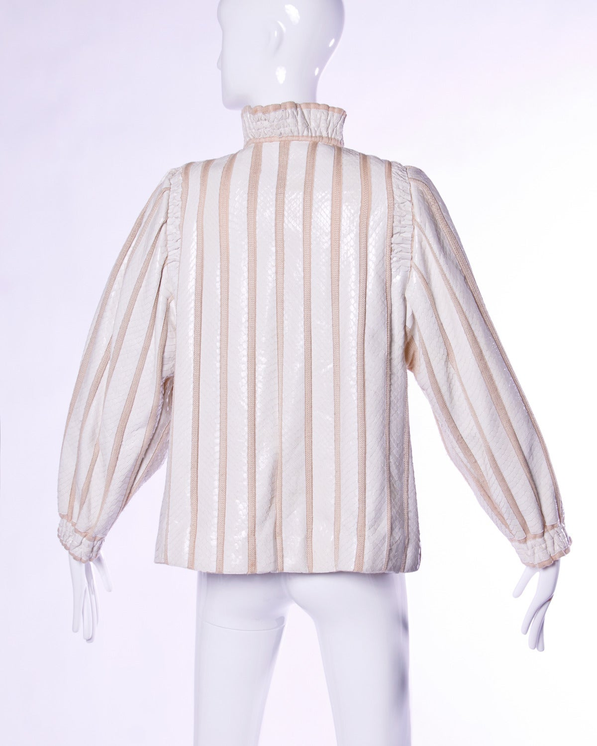 Amen Wardy Amazing Of Amen Wardy Vintage 1980s 80s White Reptile Skin Wool + Silk Jacket at  Picture