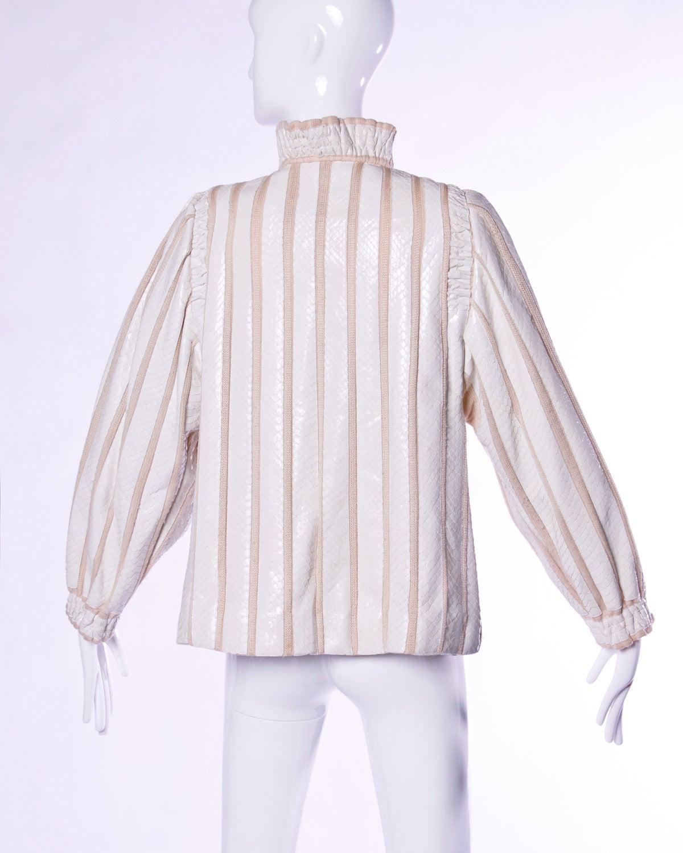 Amen Wardy Vintage 1980s 80s White Reptile Skin Wool + Silk Jacket For Sale 2