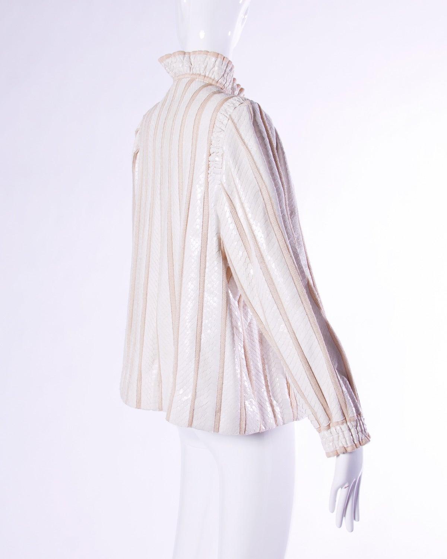 Amen Wardy Vintage 1980s 80s White Reptile Skin Wool + Silk Jacket For Sale 3