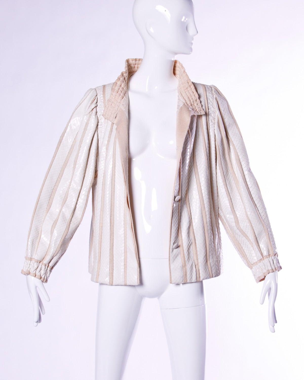 Gray Amen Wardy Vintage 1980s 80s White Reptile Skin Wool + Silk Jacket For Sale