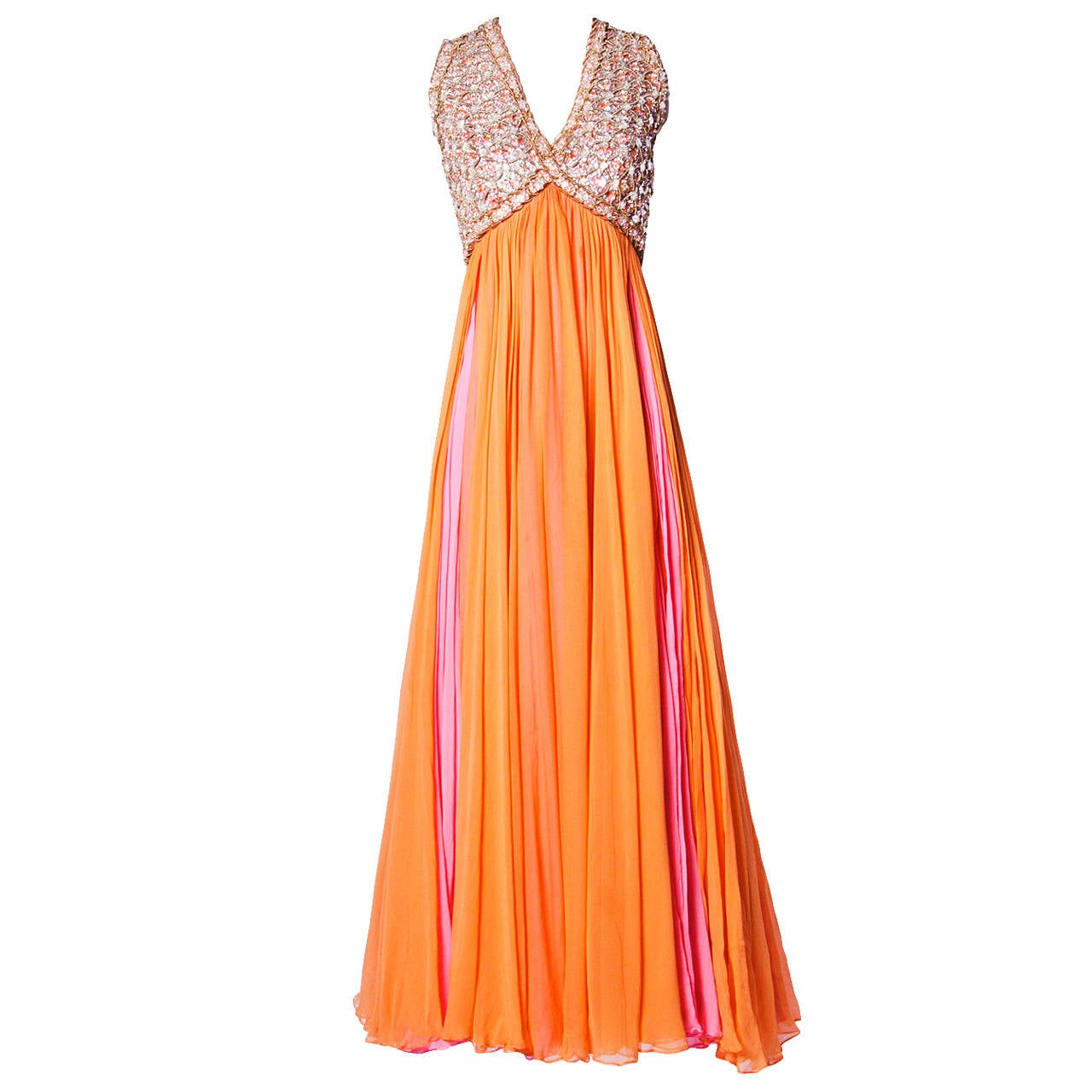 Victoria Royal Ltd. Vintage 1960s 60s Sequin + Beaded Silk Chiffon Maxi Dress 1