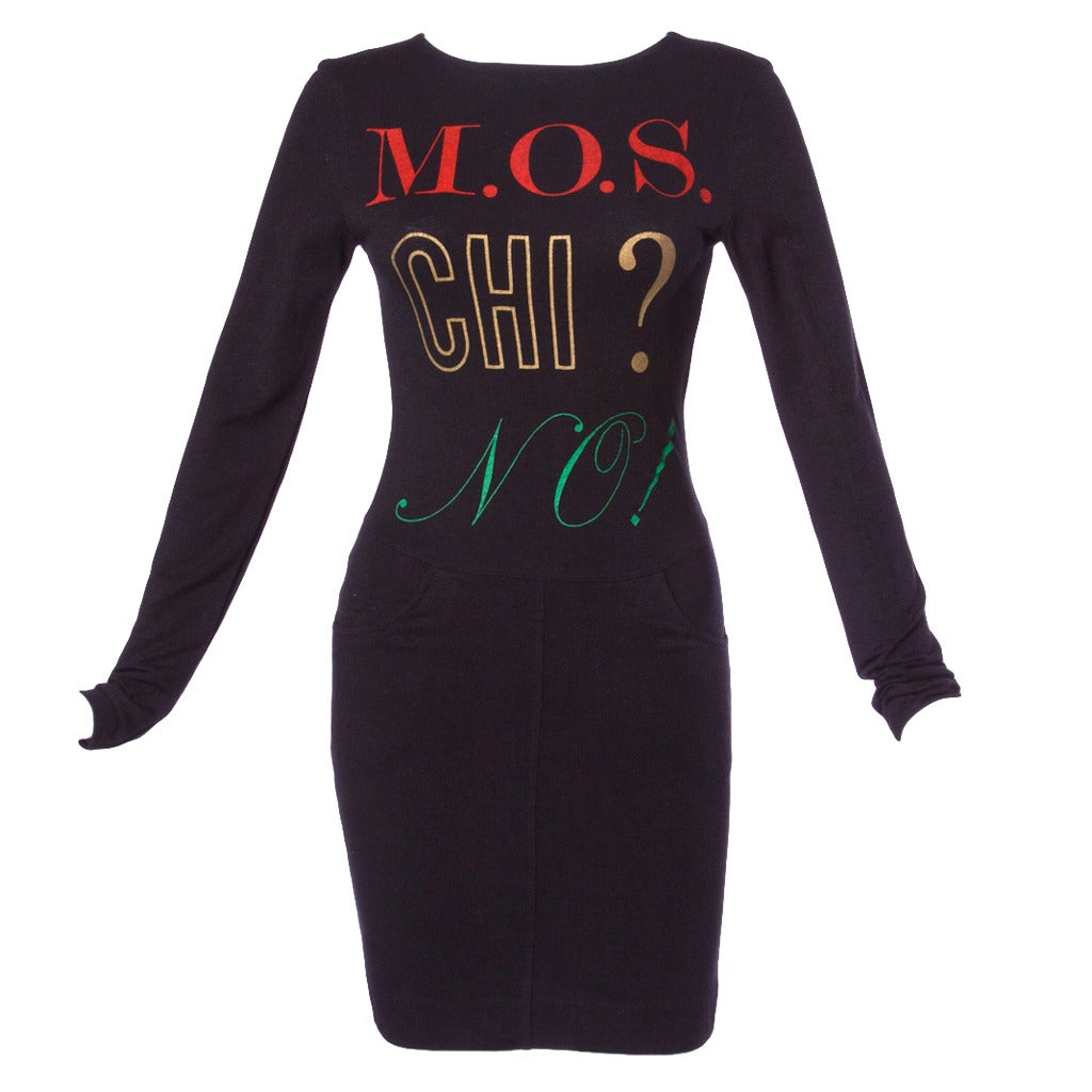 "Moschino Vintage 1990s 90s Graphic ""M.O.S. CHI? NO!"" Shirt Dress 1"