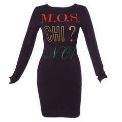 "Moschino Vintage 1990s 90s Graphic ""M.O.S. CHI? NO!"" Shirt Dress"