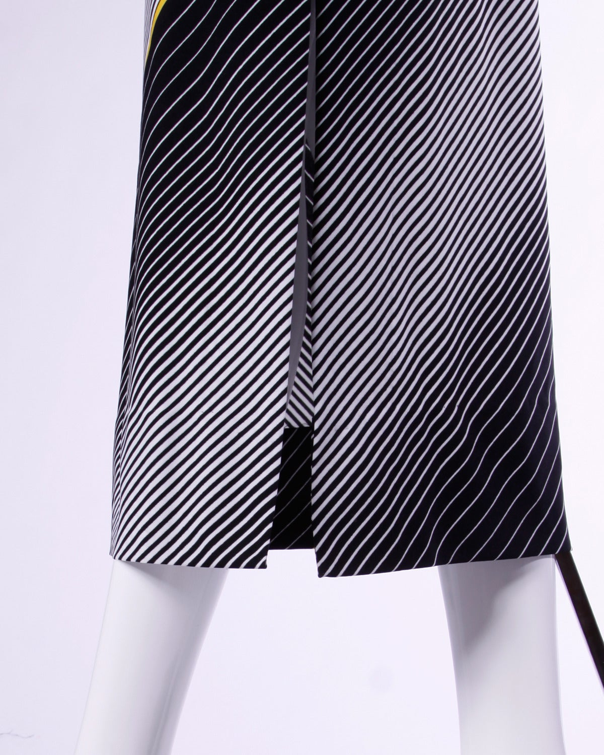 Victor Costa Vintage 1970s Op Art Print Black + White Striped Maxi Dress For Sale 1