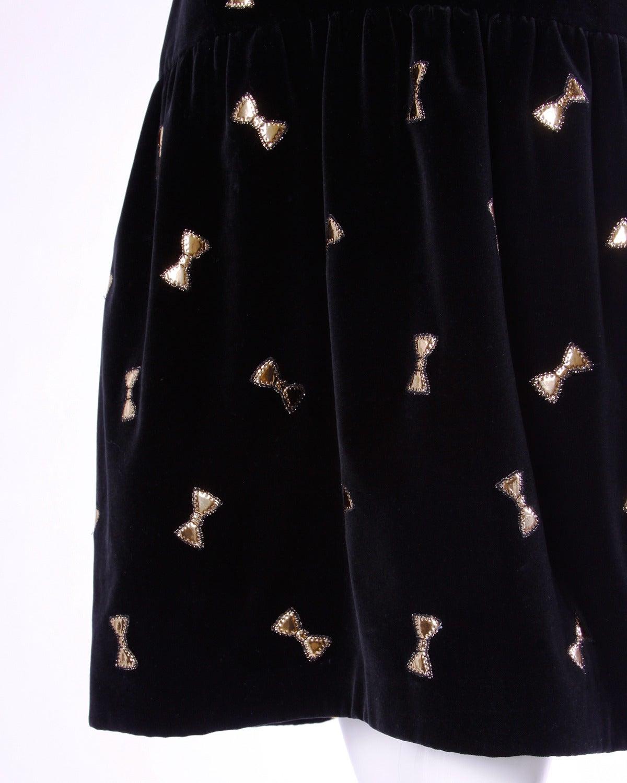 Holly's Harp Vintage 80s Black Velvet Dress with Metallic Gold Bow Appliques 2