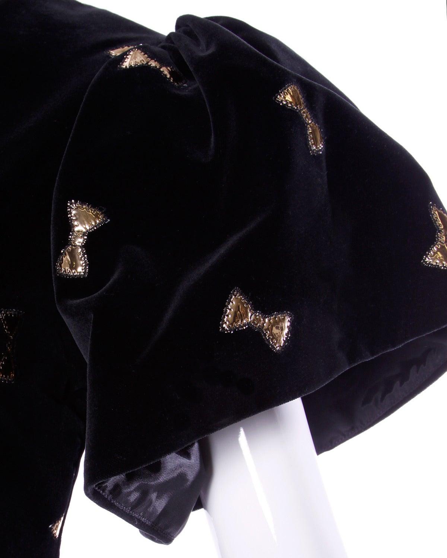 Holly's Harp Vintage 80s Black Velvet Dress with Metallic Gold Bow Appliques 3