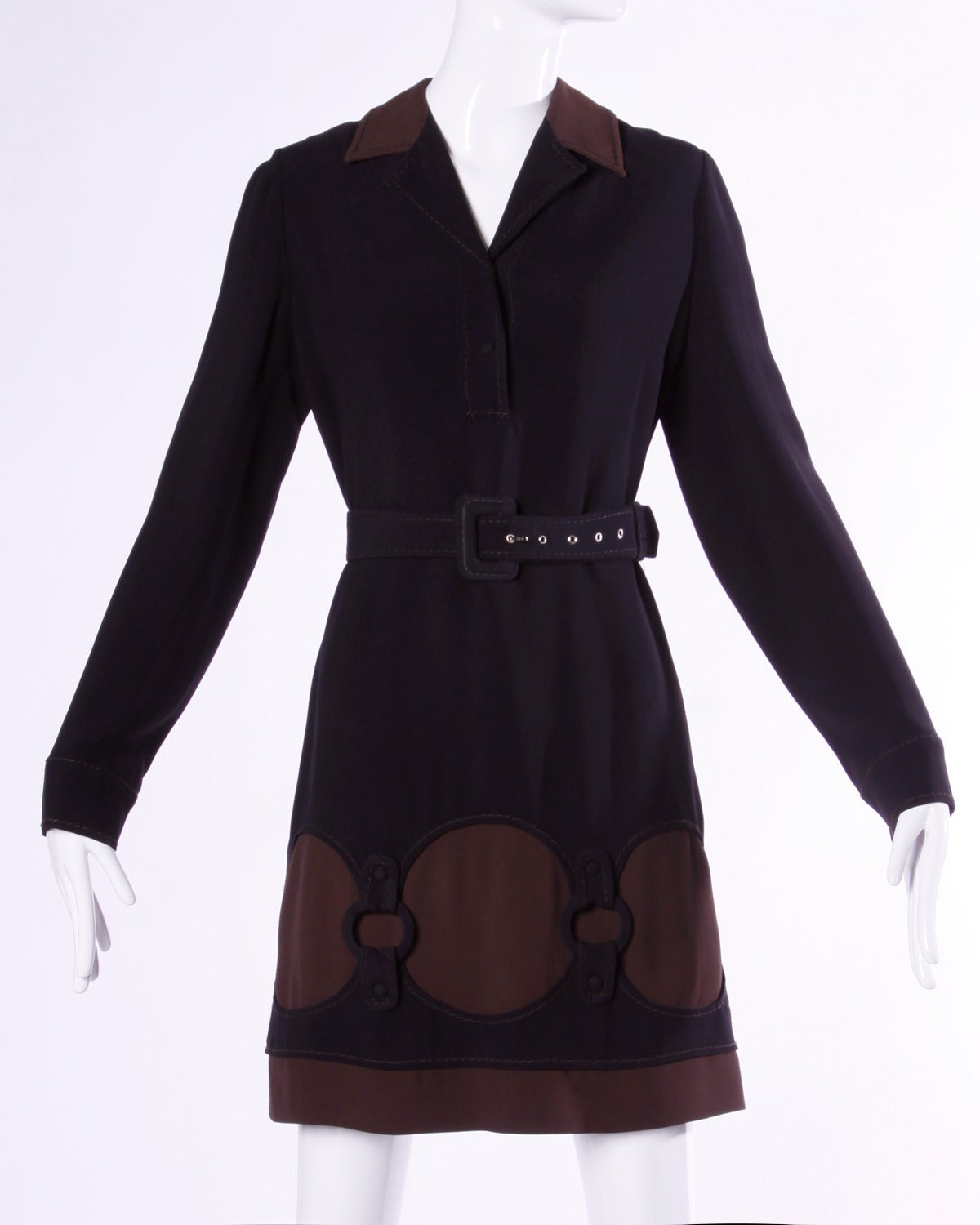 Moschino Vintage 1990s 90s Black + Brown Cut Out Shift Dress + Belt In Excellent Condition For Sale In Sparks, NV