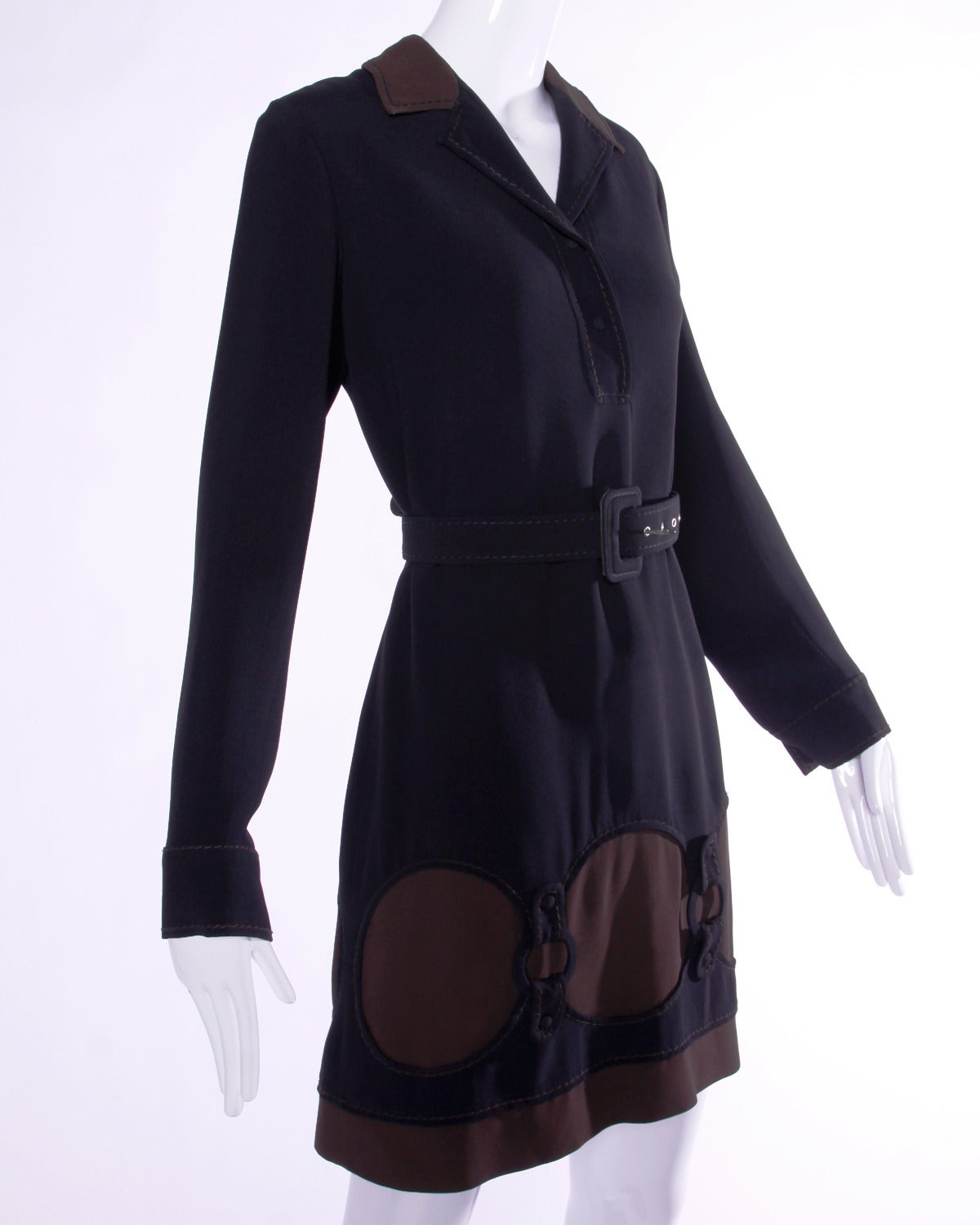 Moschino Vintage 1990s 90s Black + Brown Cut Out Shift Dress + Belt For Sale 3