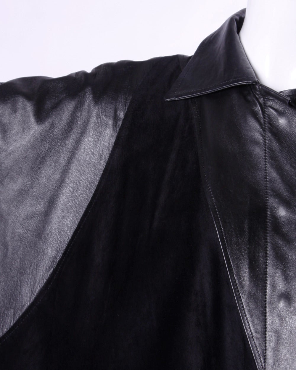 Jean Claude Jitrois Vintage 1980s 80s Black Leather Batwing or Cocoon Coat For Sale 1