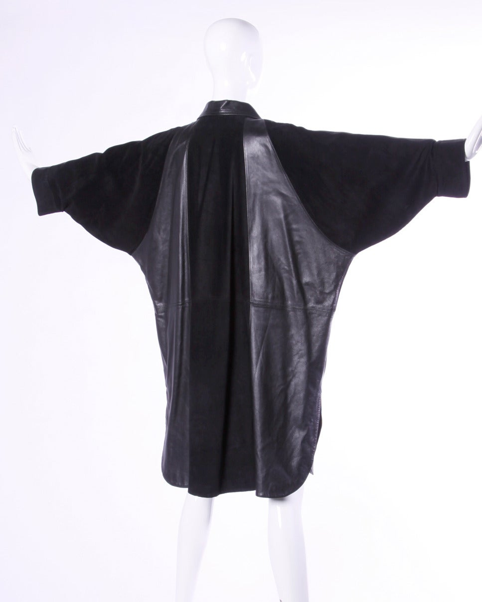 Jean Claude Jitrois Vintage 1980s 80s Black Leather Batwing or Cocoon Coat For Sale 2