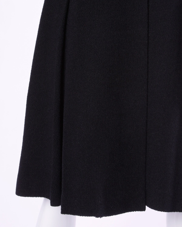 Elegant Vintage 1940s 40s Black Wool Princess Coat with Bold Shoulders 4