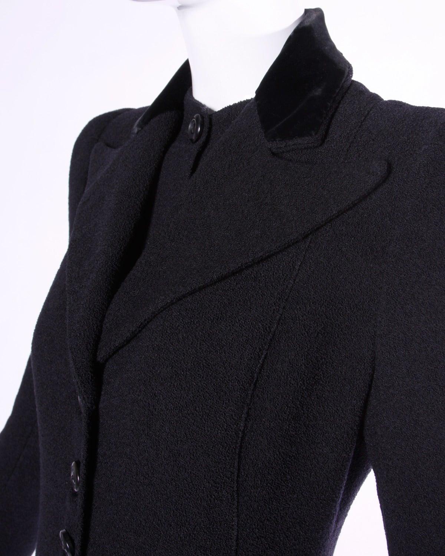 Elegant Vintage 1940s 40s Black Wool Princess Coat with Bold Shoulders 5