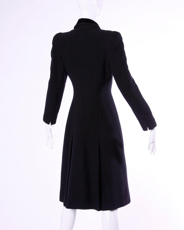 Elegant Vintage 1940s 40s Black Wool Princess Coat with Bold Shoulders 6