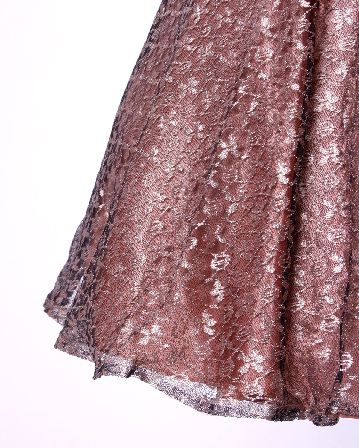 Gray Vintage 1950s 50s Rose Lace and Pleated Silk Party Dress with a Full Sweep For Sale