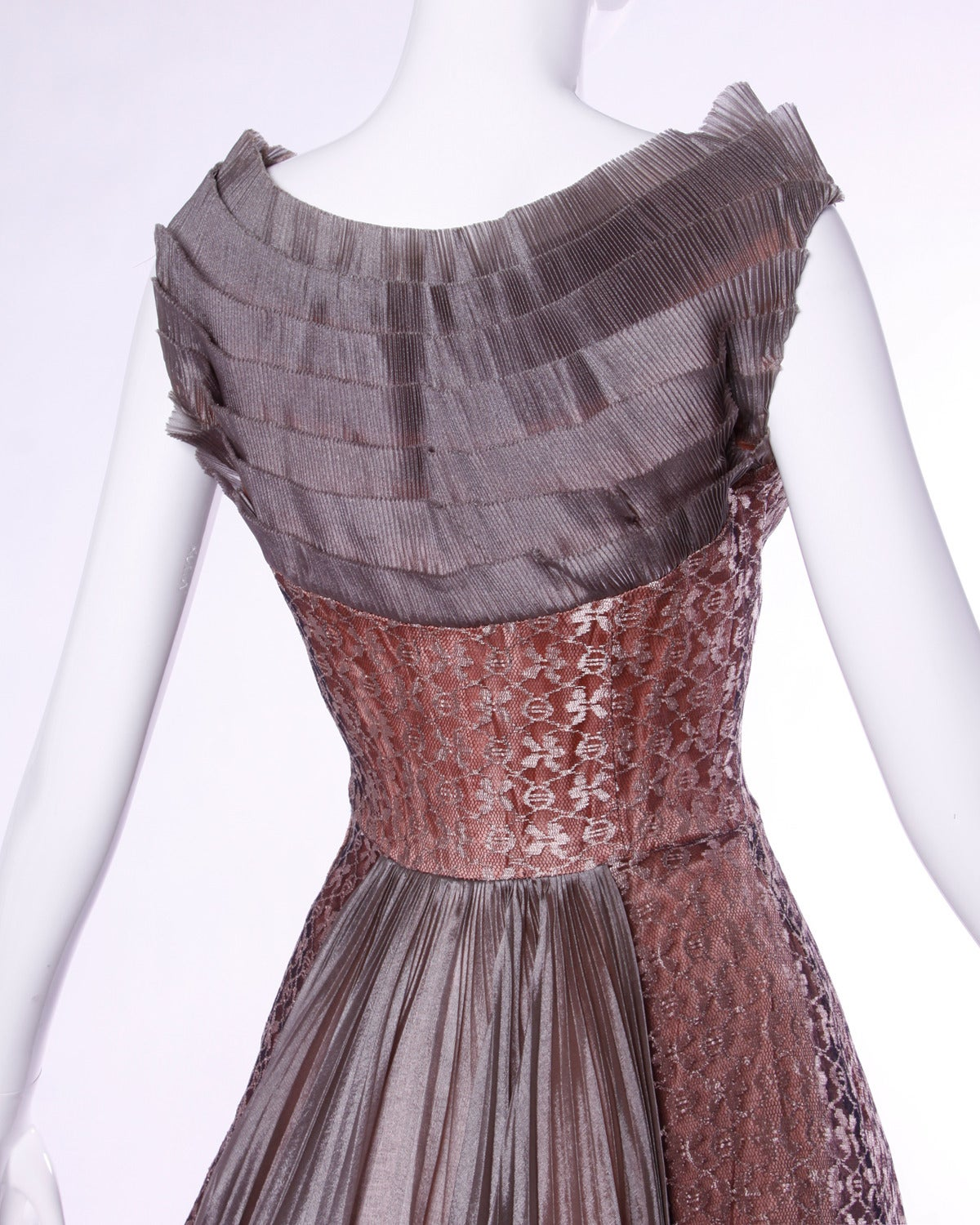 Vintage 1950s 50s Rose Lace and Pleated Silk Party Dress with a Full Sweep 6