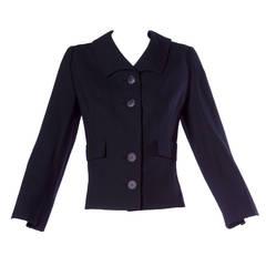 Pristine Irene Lentz Vintage 1940s 40s Black Wool Blazer or Suit Jacket