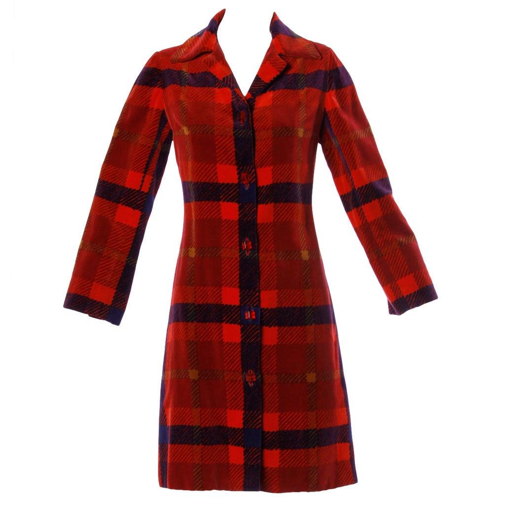 Bill Blass Vintage 1960s 60s Plaid Velvet Coat With Red