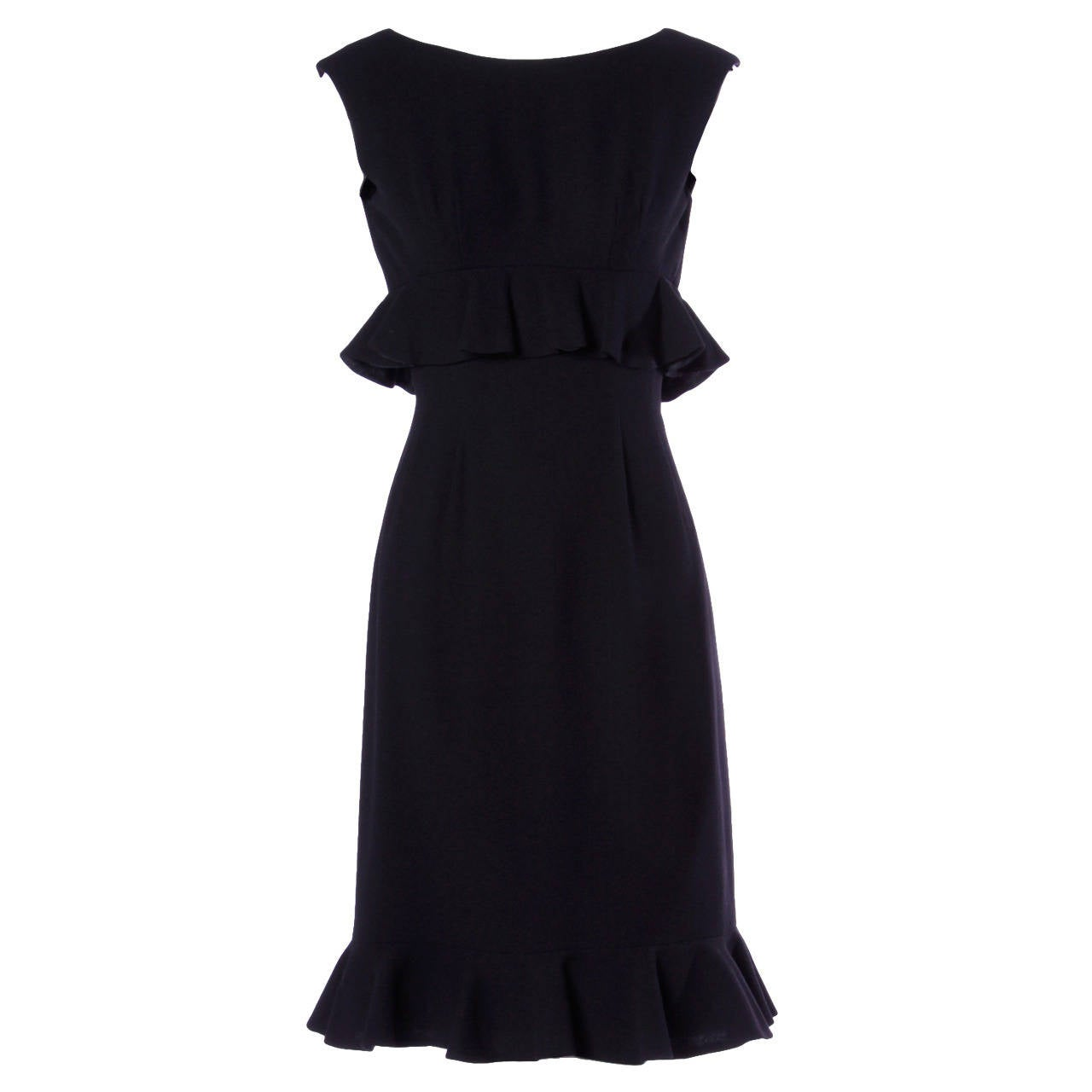 Wilson Folmar for Edward Abbott Vintage 1960s 60s Black Ruffle Cocktail Dress
