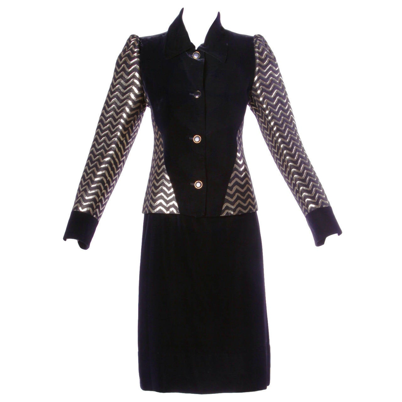Givenchy Vintage Metallic Gold + Black Vevet Jacket + Skirt Ensemble