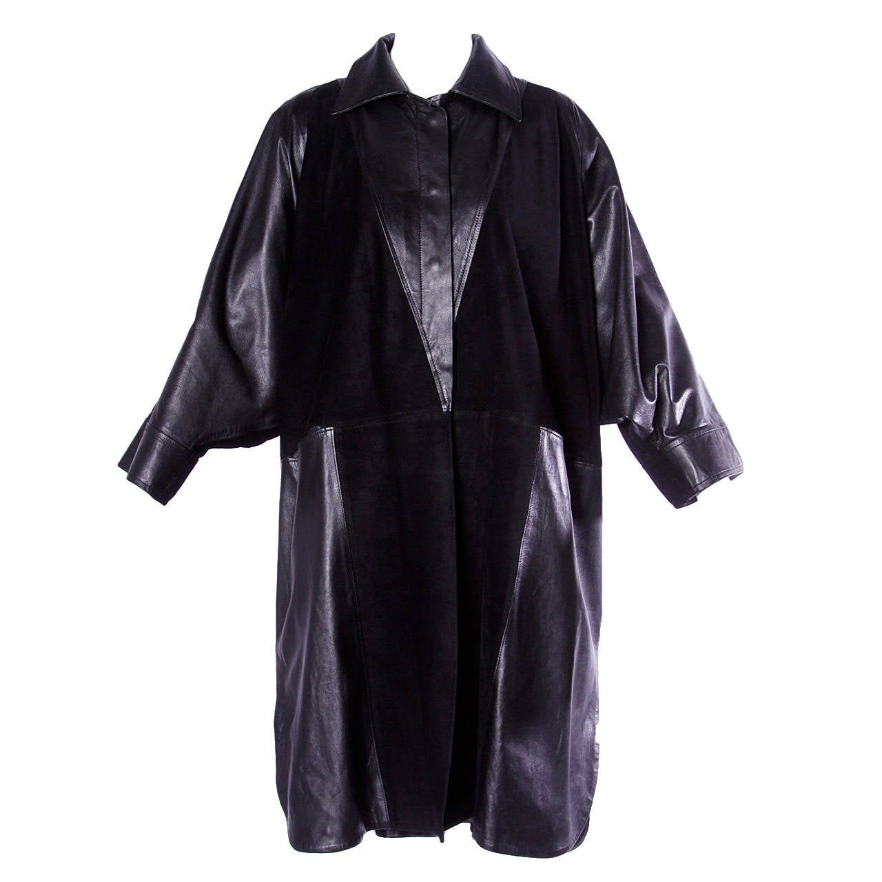 Jean Claude Jitrois Vintage 1980s 80s Black Leather Batwing or Cocoon Coat