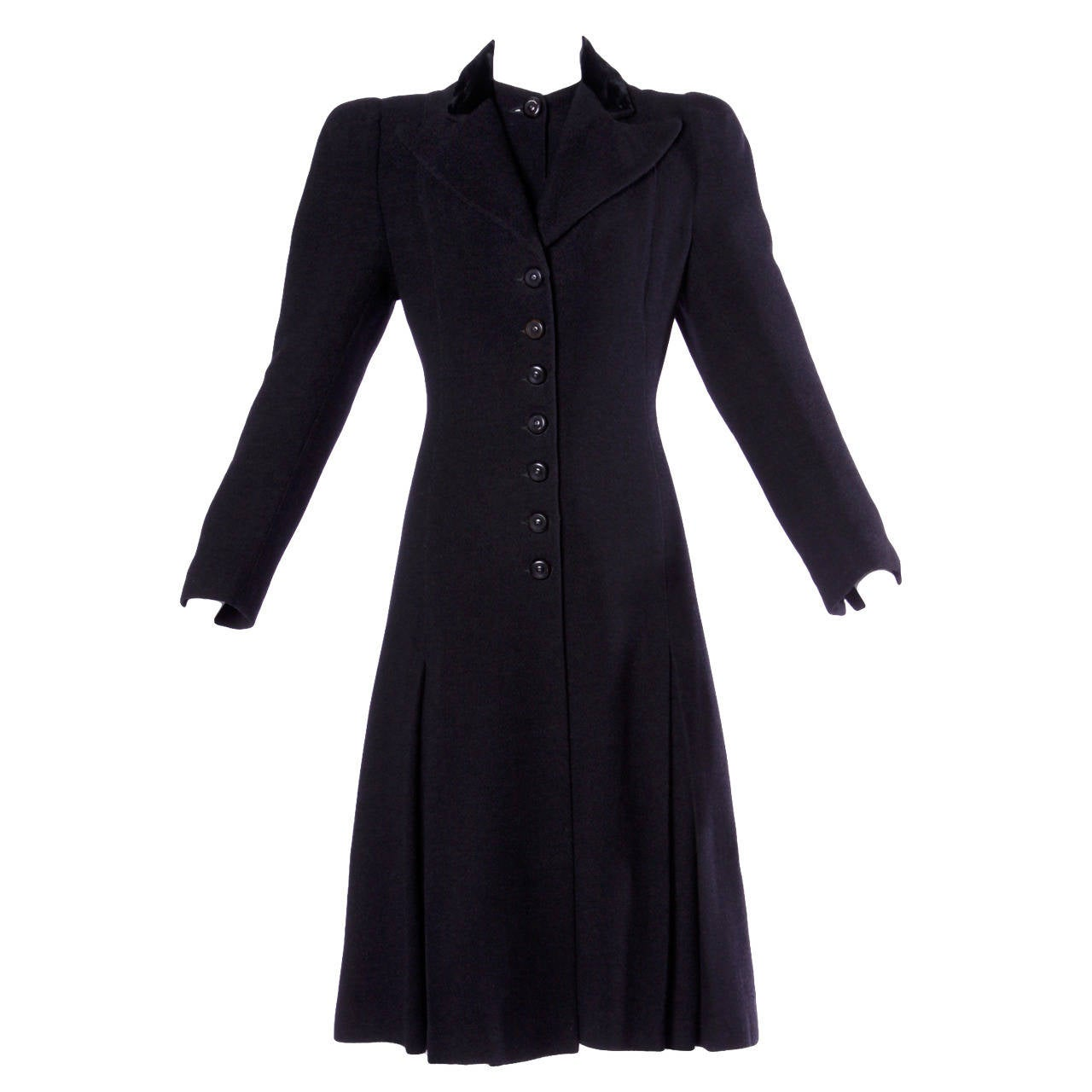 Elegant Vintage 1940s 40s Black Wool Princess Coat with Bold Shoulders For Sale