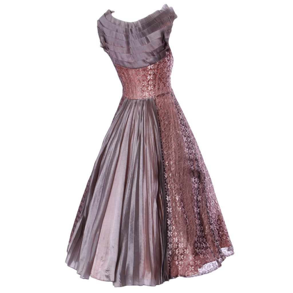 Vintage 1950s 50s Rose Lace and Pleated Silk Party Dress with a Full Sweep For Sale