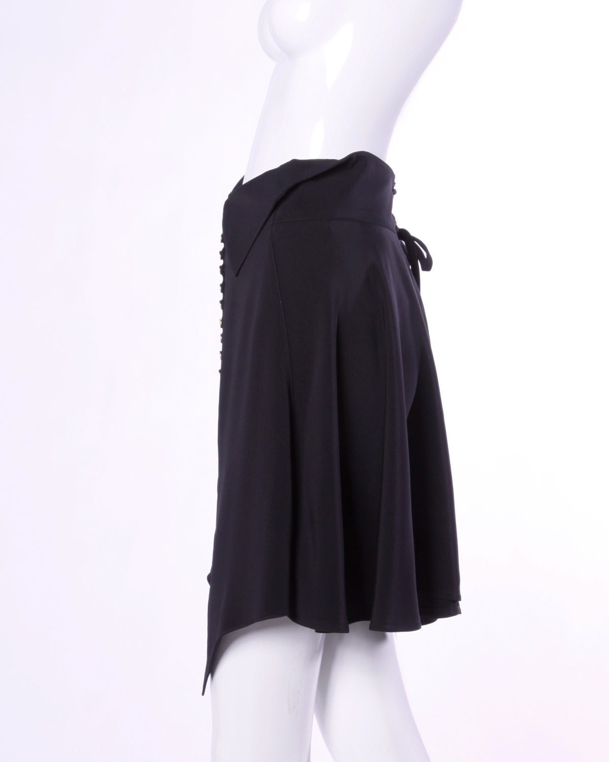 Claude Montana Vintage Black Avant Garde Lace-Up Skirt, 1990s  In Excellent Condition For Sale In Sparks, NV