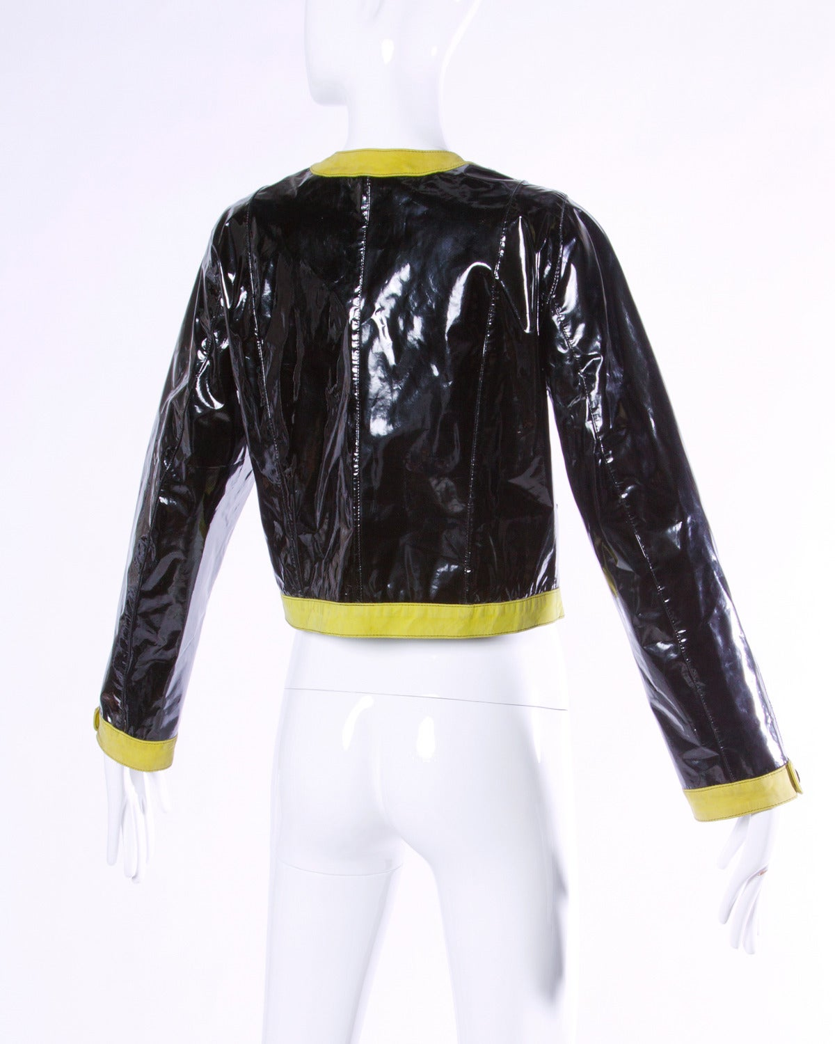 Women's Escada Vintage 1990s 90s Black Patent Leather Bomber Jacket with Green Trim For Sale