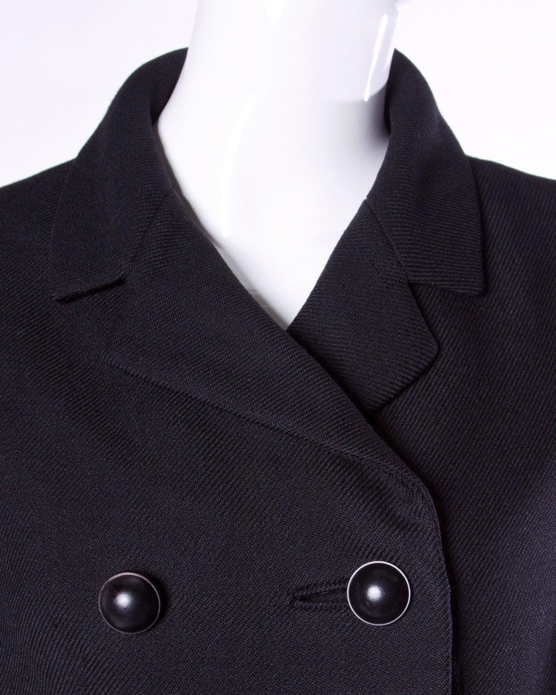 Christian Dior Vintage 1960s 60s Pristine Black Wool Pea Coat For Sale 2