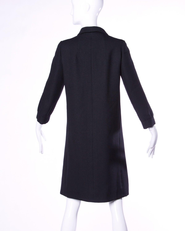 Christian Dior Vintage 1960s 60s Pristine Black Wool Pea Coat For Sale 1