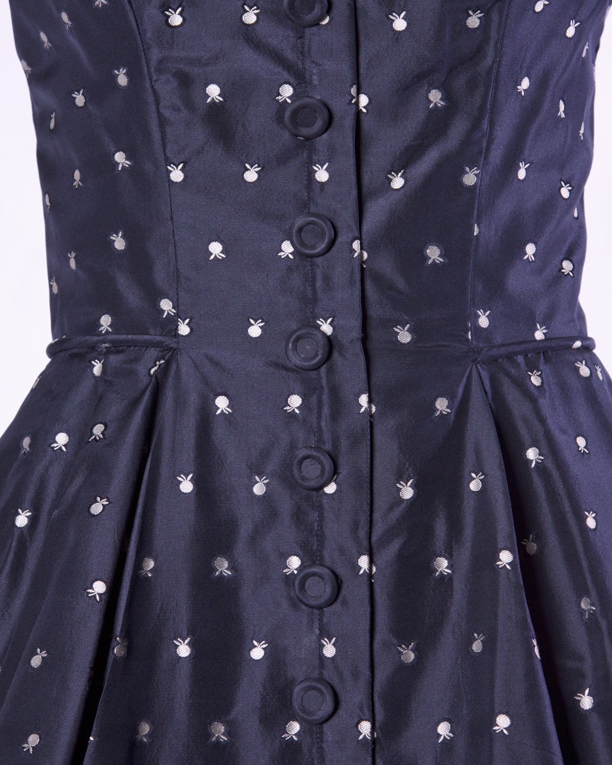 Black Ceil Chapman Vintage 1950s 50s Fruit Print Navy Silk Dress with Box Pleats For Sale