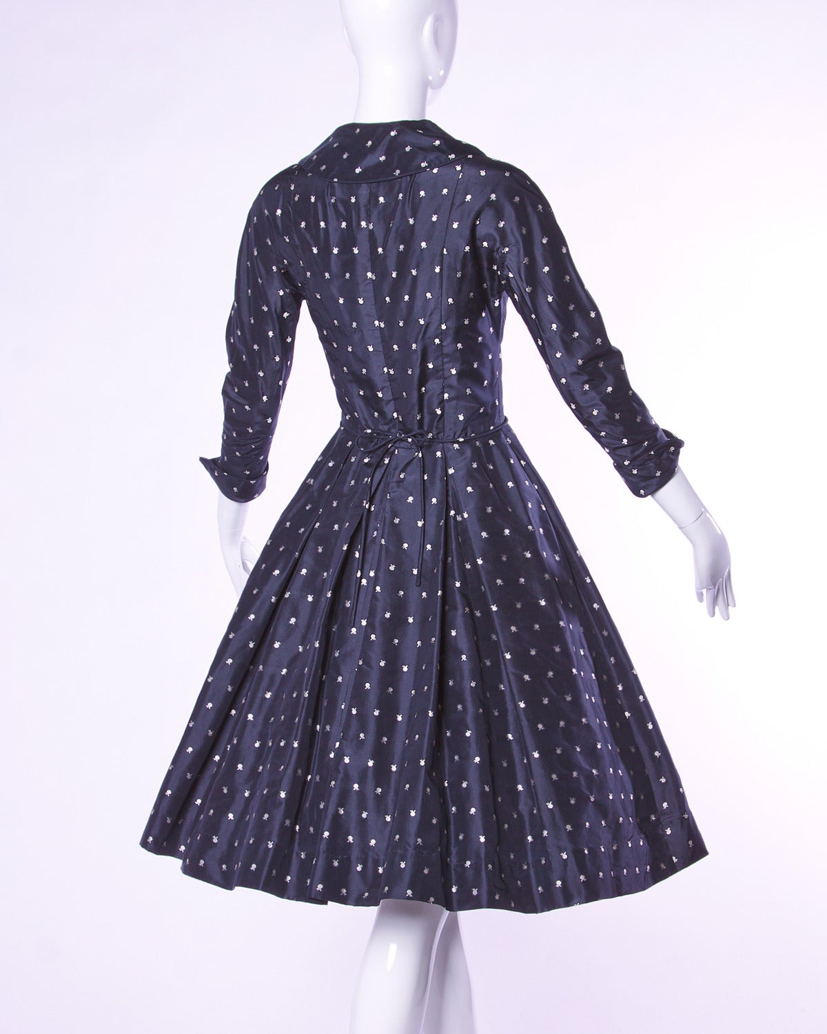 Women's Ceil Chapman Vintage 1950s 50s Fruit Print Navy Silk Dress with Box Pleats For Sale