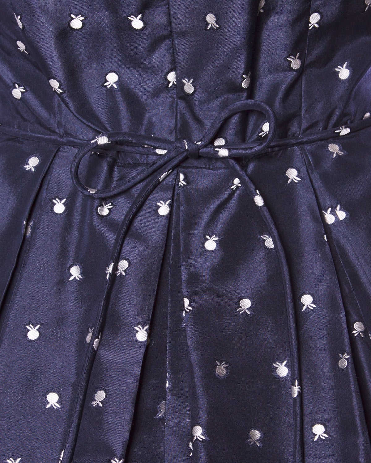 Ceil Chapman Vintage 1950s 50s Fruit Print Navy Silk Dress with Box Pleats For Sale 1