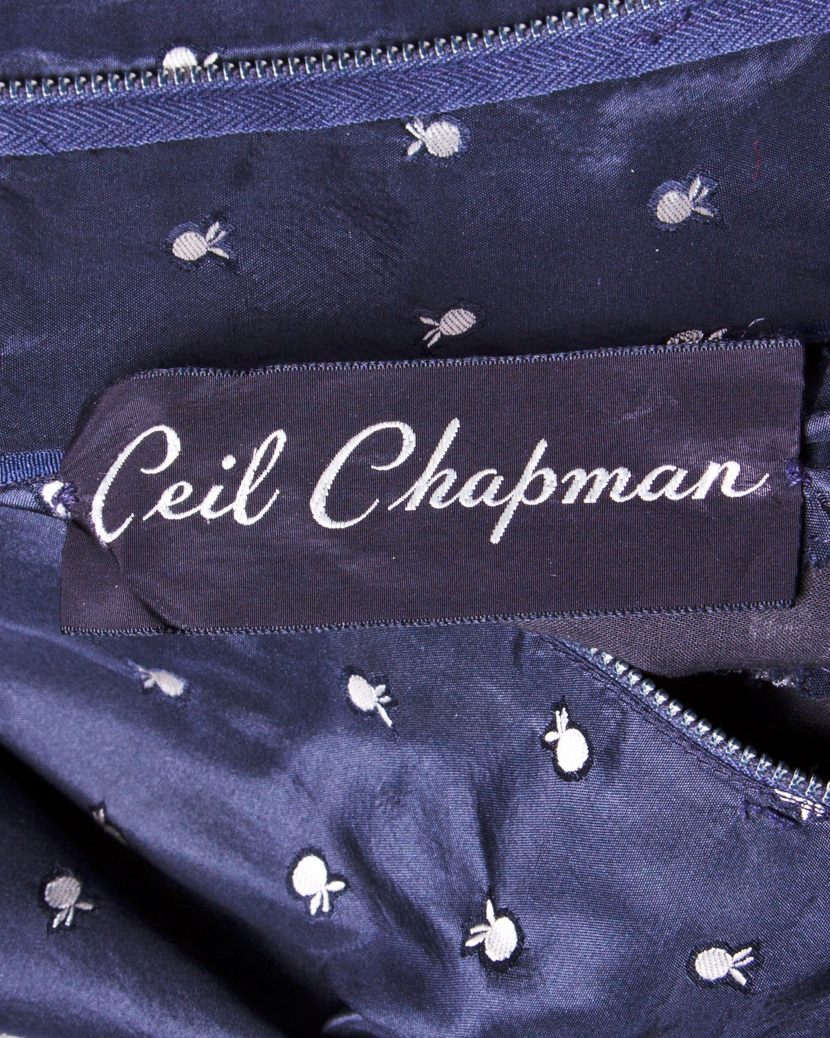 Ceil Chapman Vintage 1950s 50s Fruit Print Navy Silk Dress with Box Pleats For Sale 2