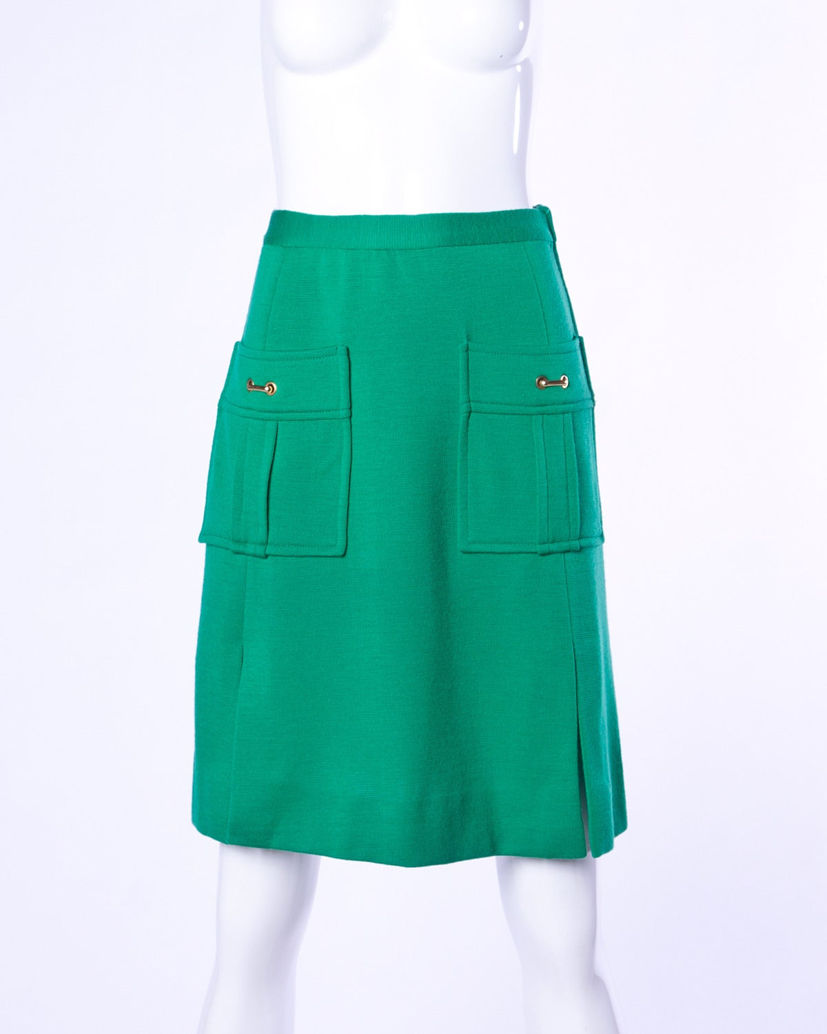Vintage 1960s 60s Italian Wool Kelly Green Knit Skirt + Top 2-Piece Ensemble 2