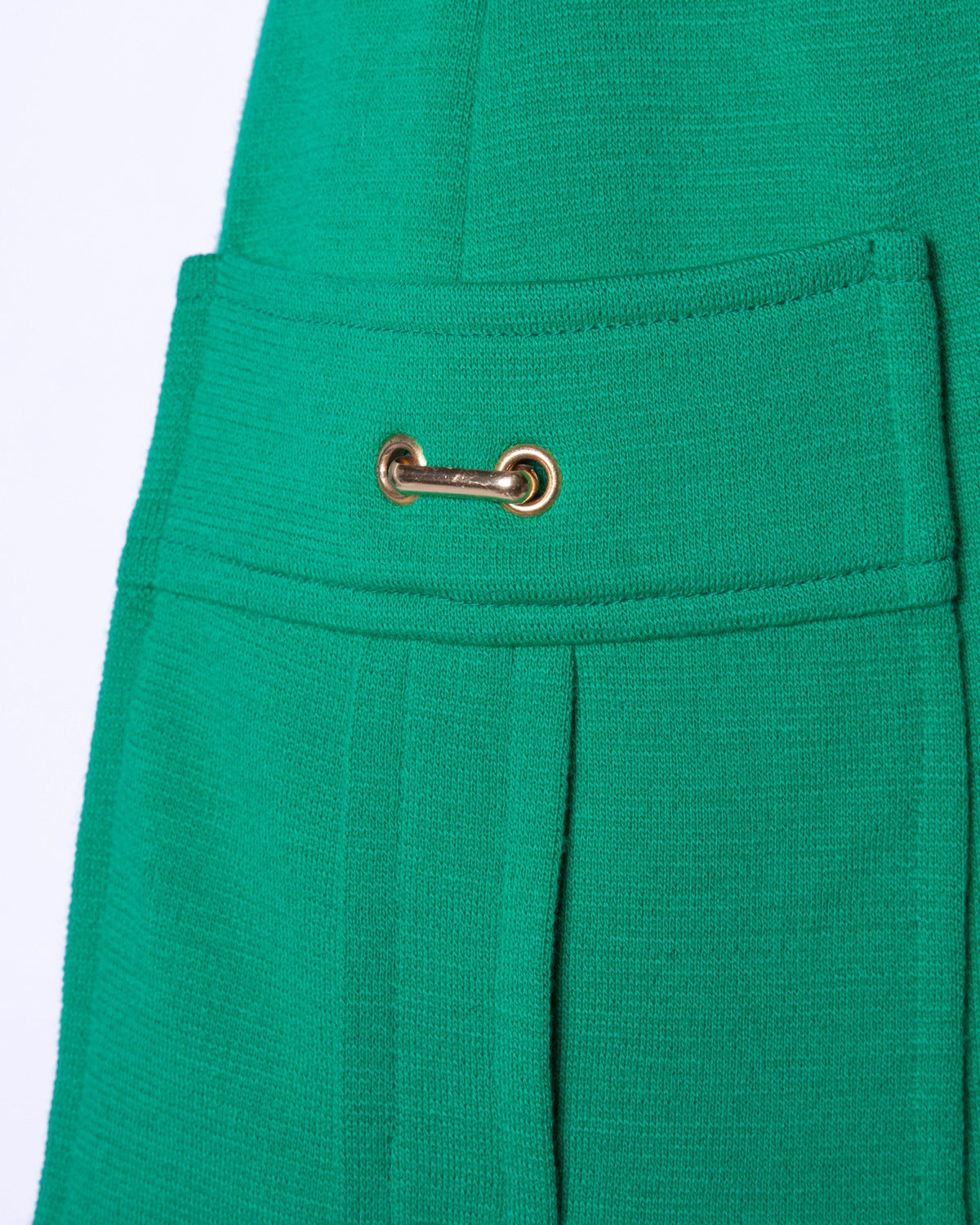 Vintage 1960s 60s Italian Wool Kelly Green Knit Skirt + Top 2-Piece Ensemble 3