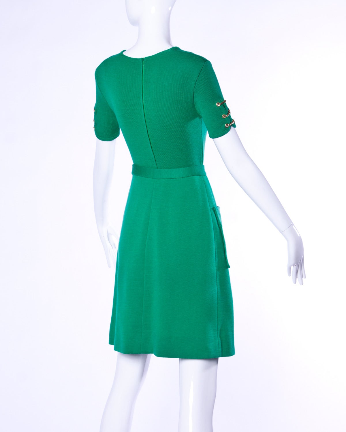 Vintage 1960s 60s Italian Wool Kelly Green Knit Skirt + Top 2-Piece Ensemble 5