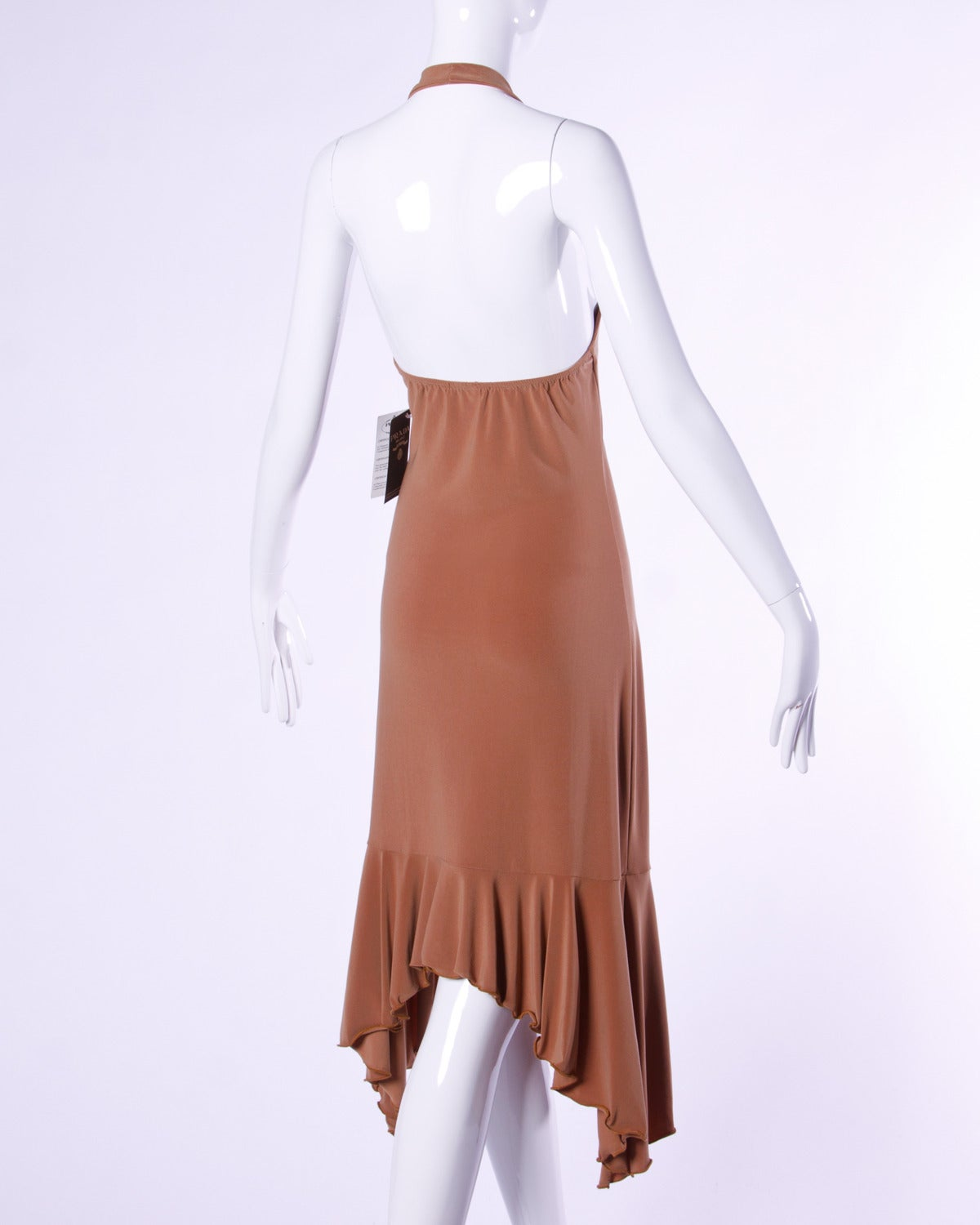 Women's Unworn Prada Deadstock Tan Jersey Knit Open Back Halter Dress For Sale
