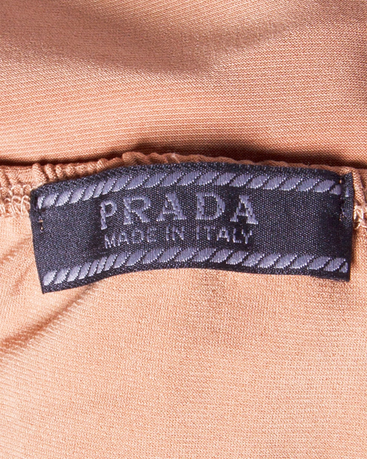 Unworn Prada Deadstock Tan Jersey Knit Open Back Halter Dress For Sale 3