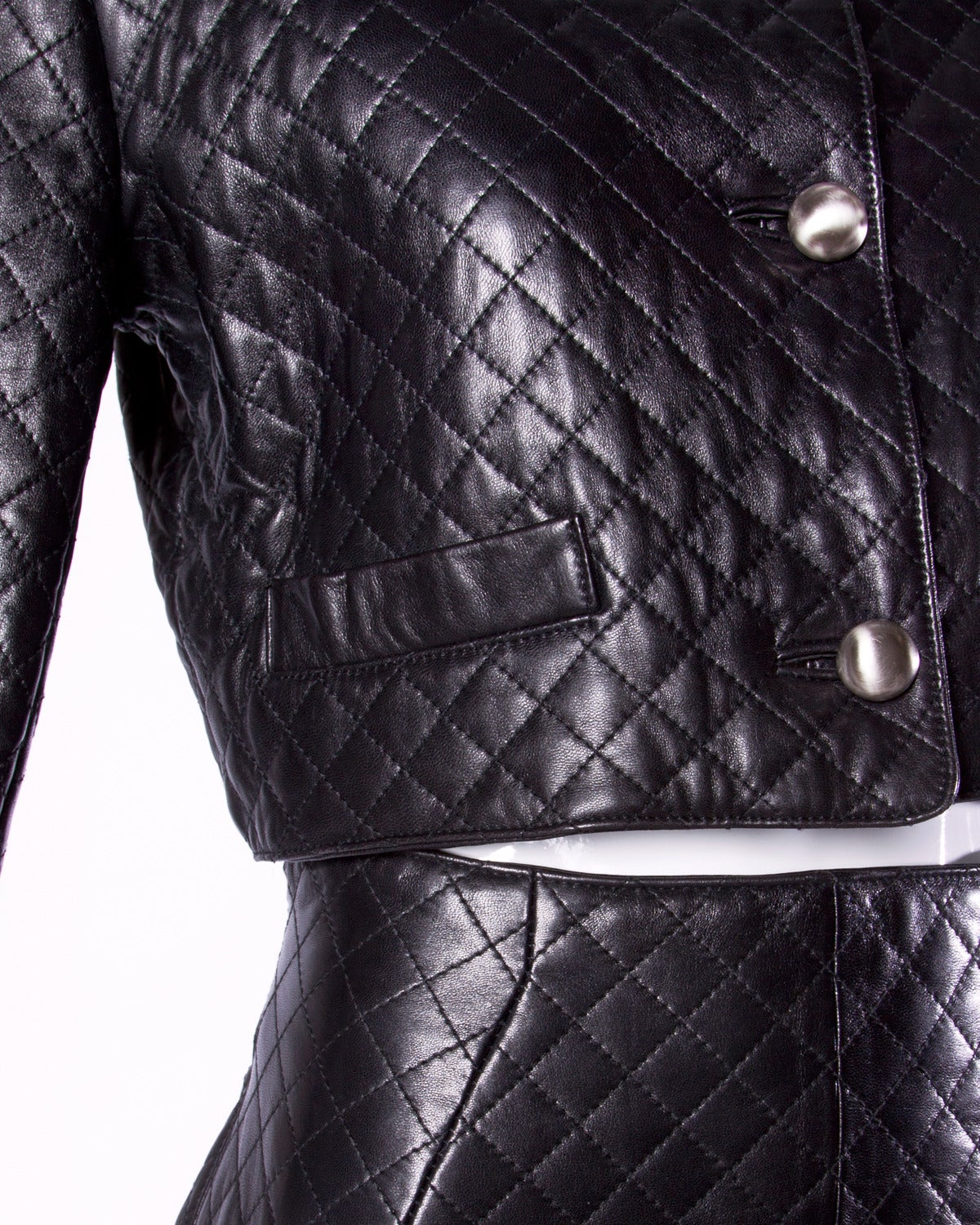 Black Unworn Michael Hoban for North Beach Leather Vintage Quilted Ensemble For Sale