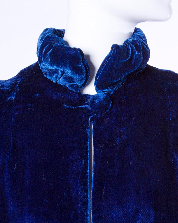 Vintage 1940s 40s Blue Silk Velvet Formal Opera Coat Or