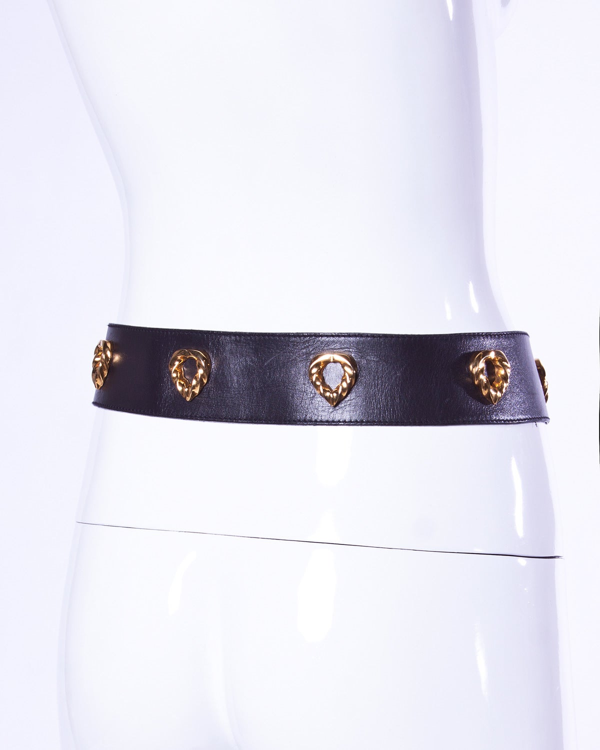 Women's Iconic Escada Vintage 1980s 80s Black Leather Gold Heart Belt For Sale
