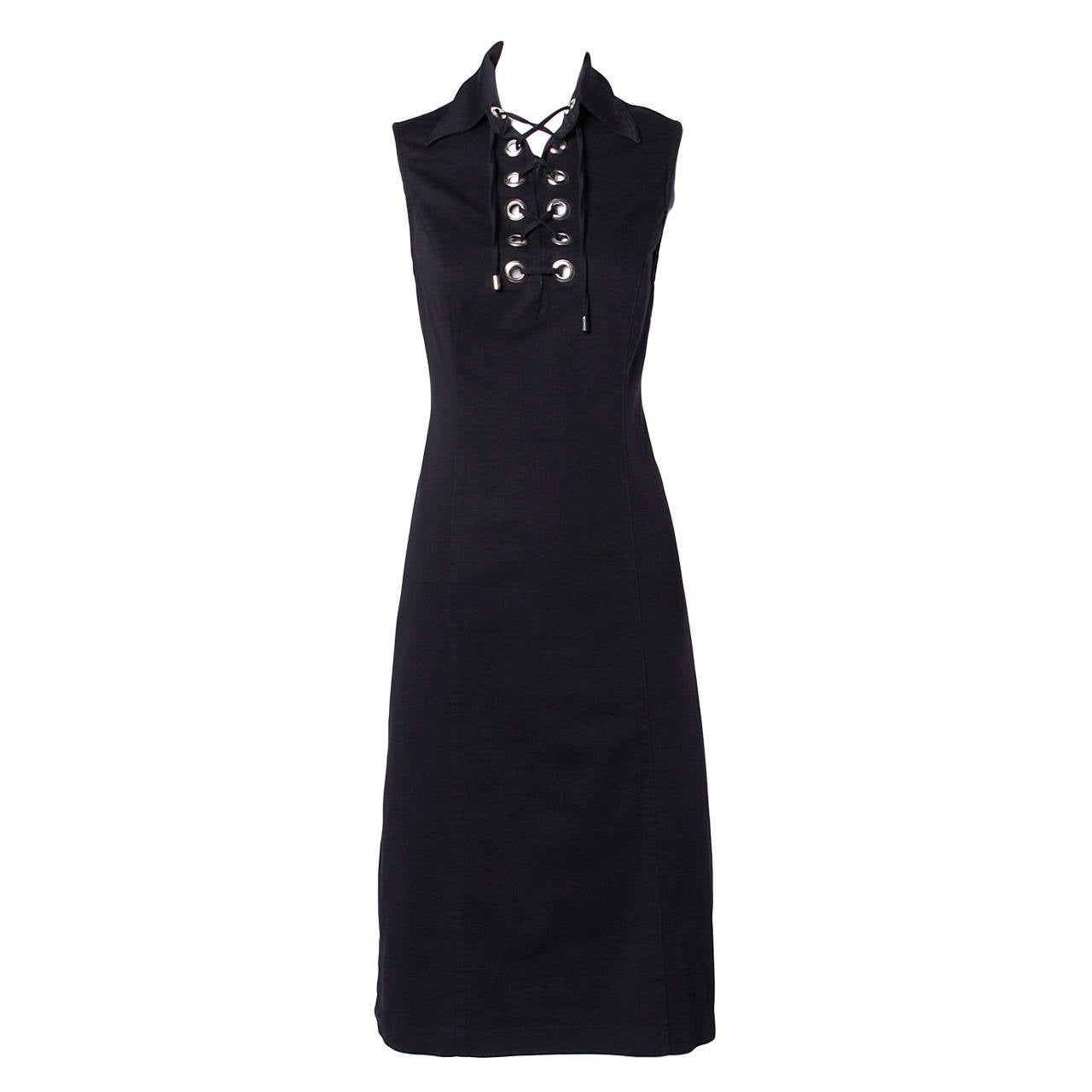 Moschino Vintage 1990s 90s Black Lace Up Grommet Sheath Dress